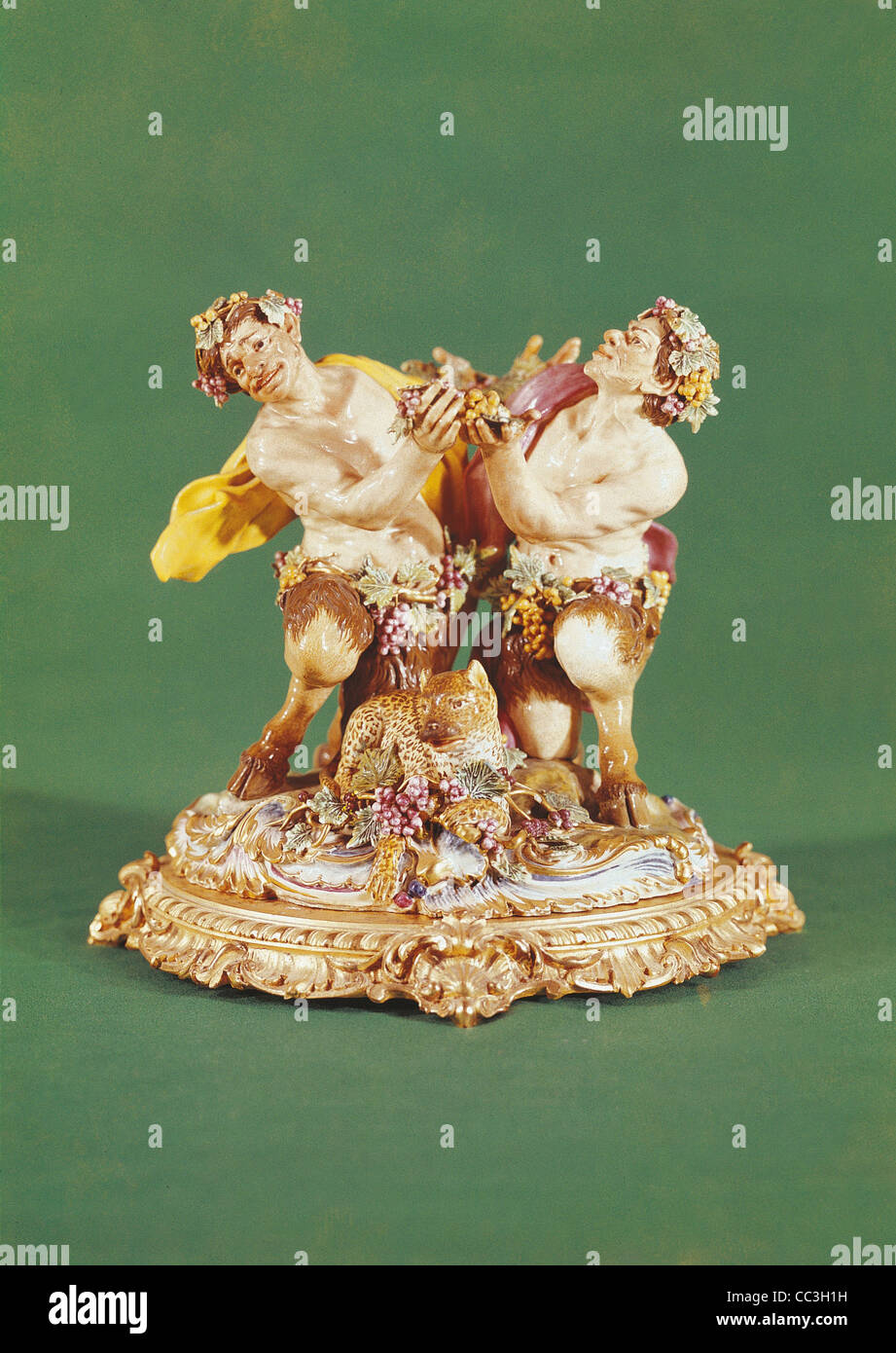 Ceramics, Italy, Nineteenth Century. anufacture Of Capodimonte. Vintage Charles III. Drunken Satyrs. - Stock Image