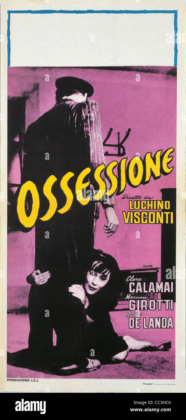 Cinema Poster: Obsession 1943 Directed By Luchino Visconti - Stock Image