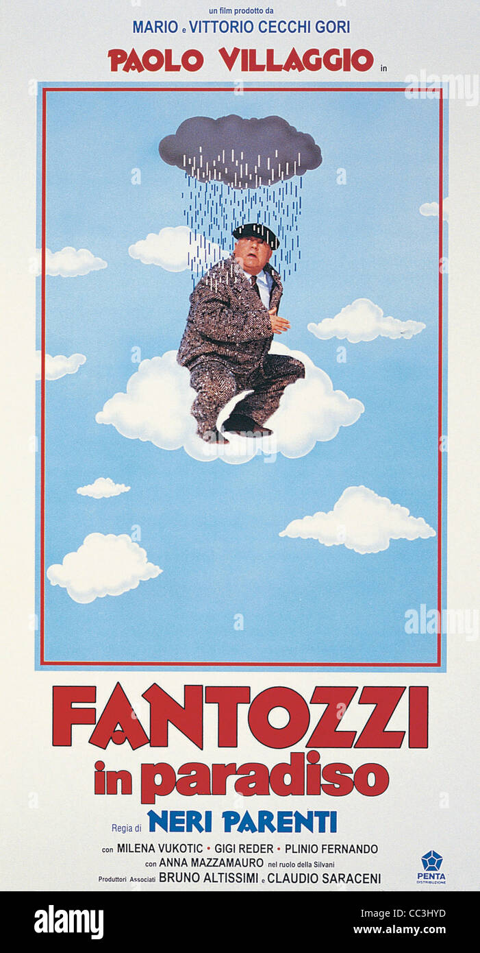 Cinema: Fantozzi Relatives In Paradise 1993 Director's Blacks Poster - Stock Image