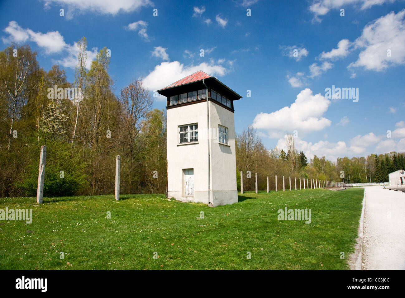 watch tower on the perimeter of the Dachau concentration camp - Stock Image