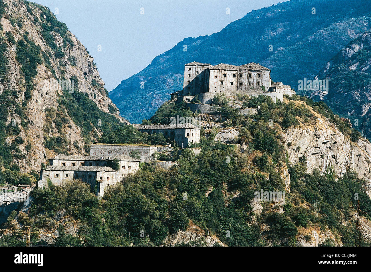 Valle D'Aosta Bard Fortress 19th Century - Stock Image