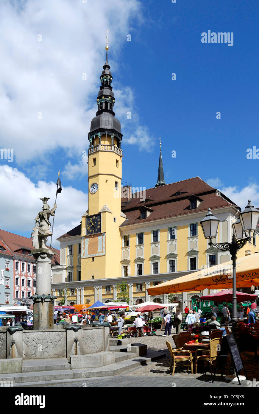 City hall of the historical old town of Bautzen. - Stock Image