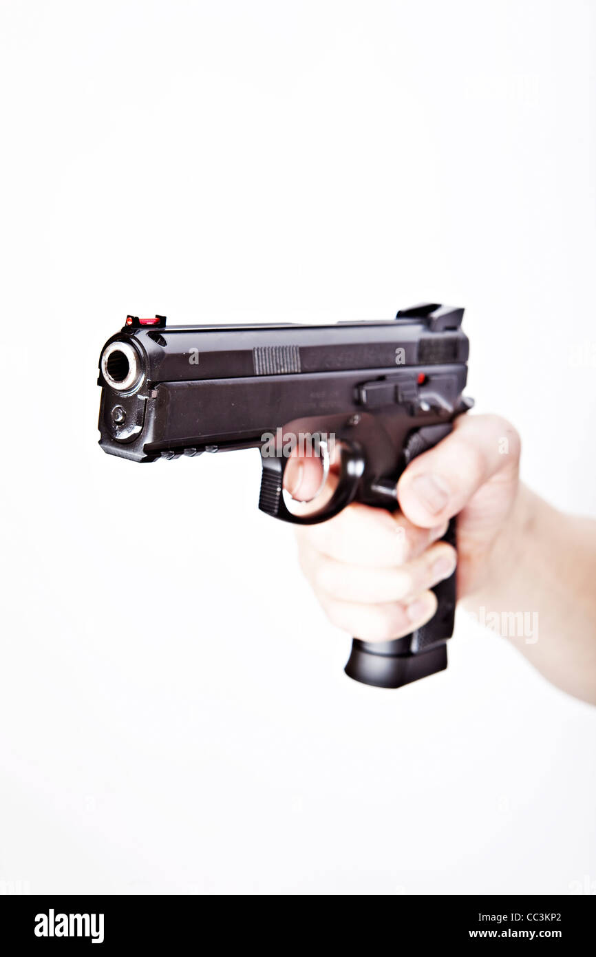 CZ 75 SP-01 SHADOW, Standard size duty and defence pistol, cal. 9 mm Luger, 9x21. Pictured is wrong, dangerous, - Stock Image