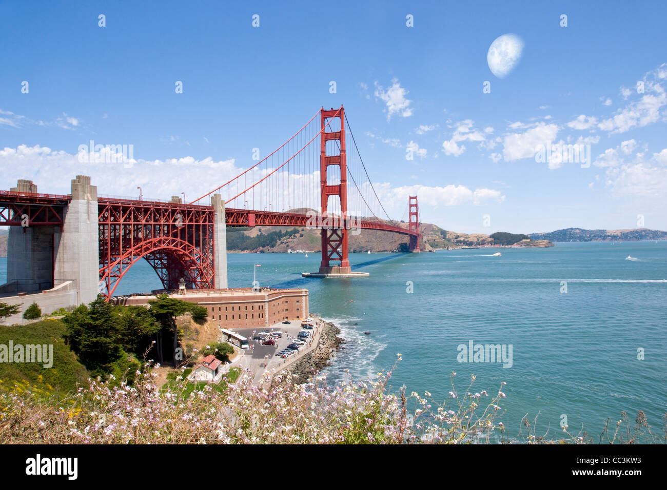 Golden Gate Bridge with moon Stock Photo