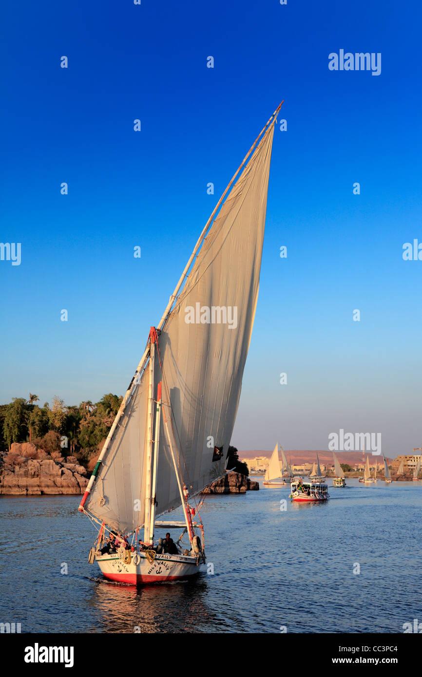 Feluccas on the Nile, Aswan, Egypt Stock Photo