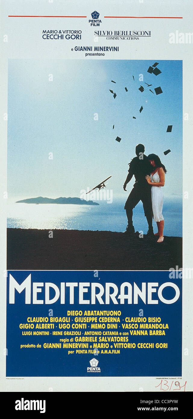 Film: Mediterraneo, 1990, Directed By Gabriele Salvatores. Poster. - Stock Image