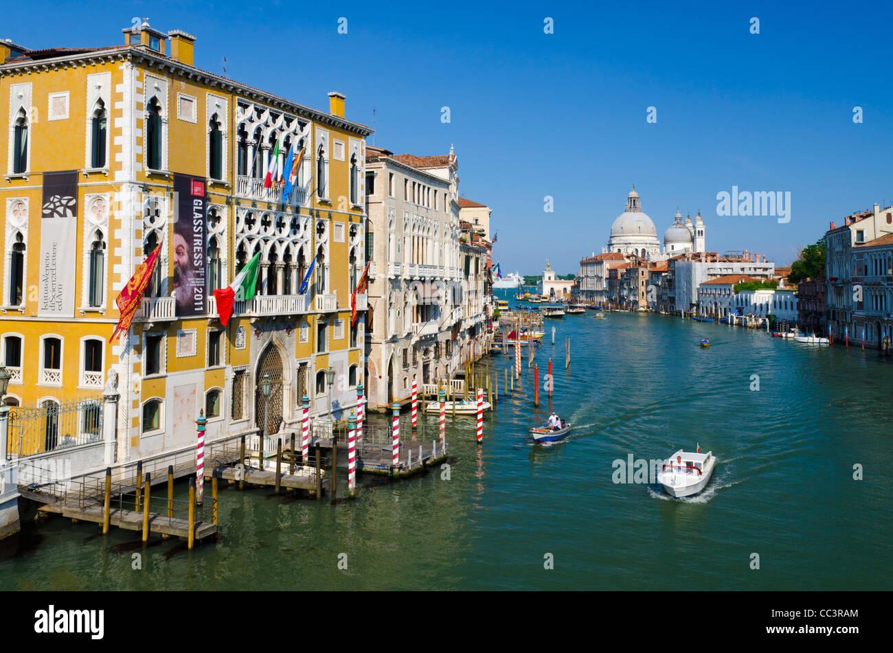 Italy, Veneto, Venice, Grand Canal, Santa Maria della Salute from Accademia Bridge - Stock Image