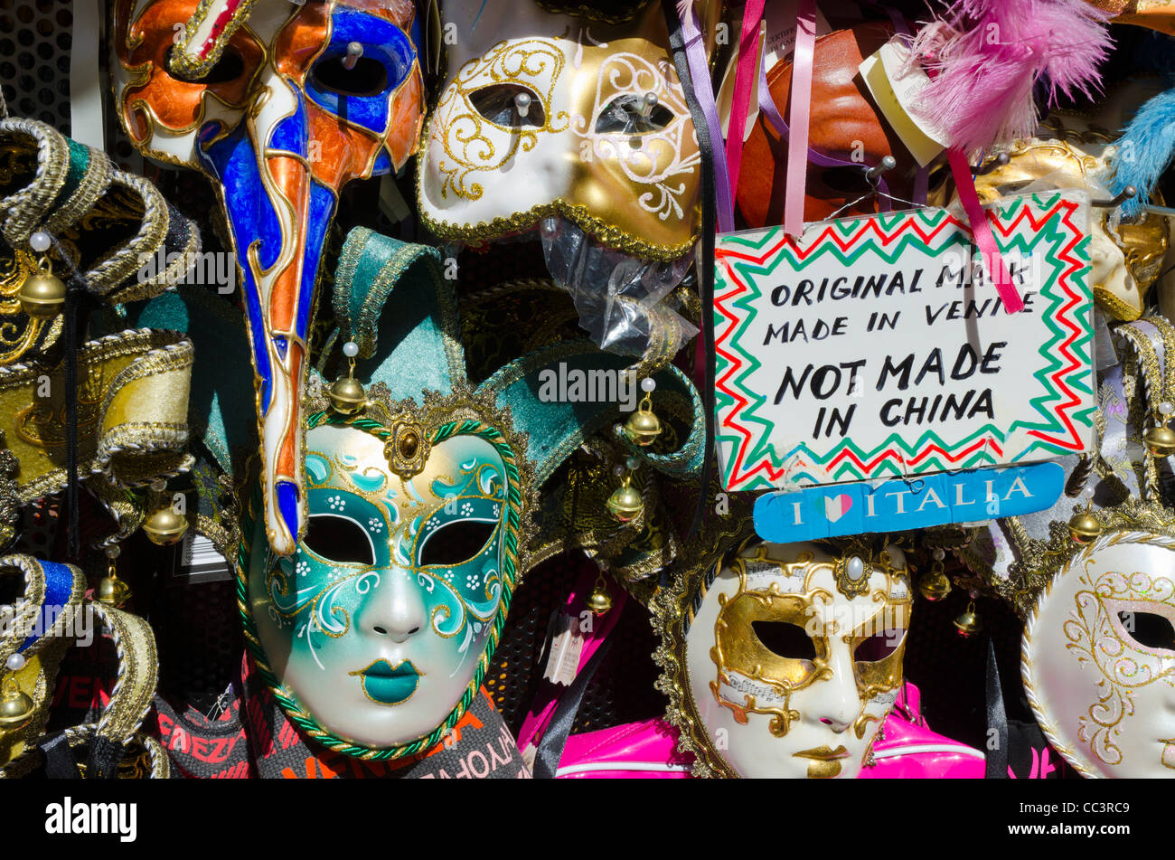 Italy, Veneto, Venice, Venetian masks for sale Stock Photo