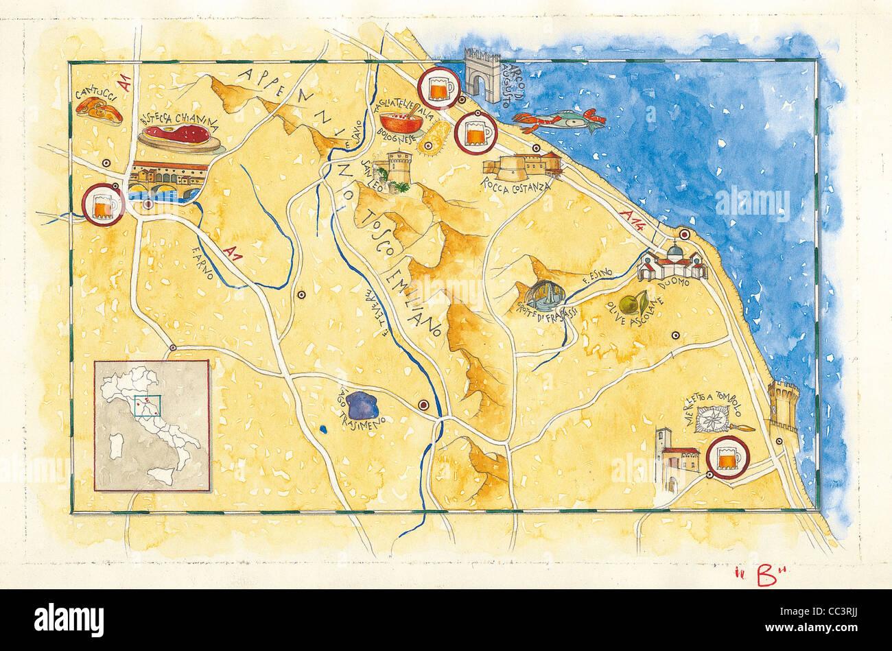 Cartina Umbria toscana Marche