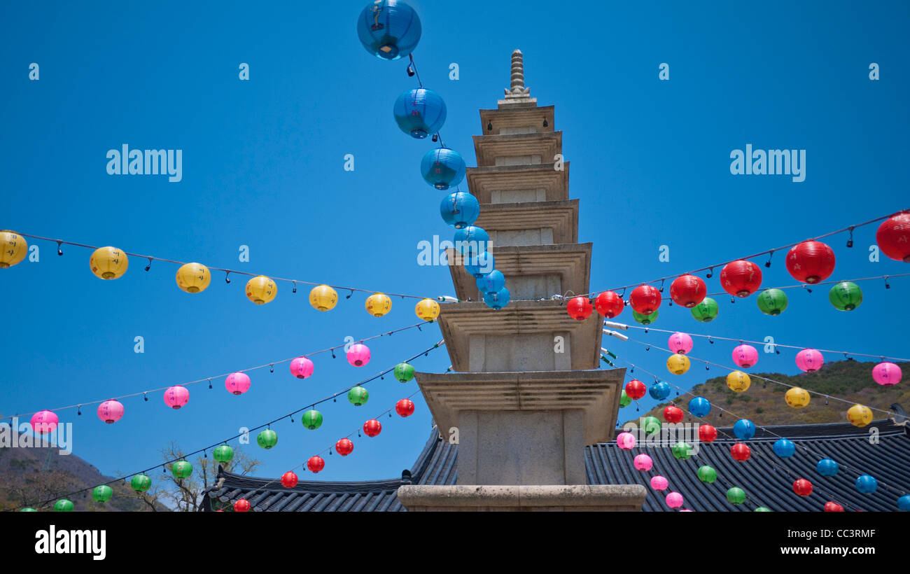 Korea, Gyeongsangnam-do, Busan, Beomeo-Sa temple, Lanterns to celebrate  Bhuddda's birthday - Stock Image