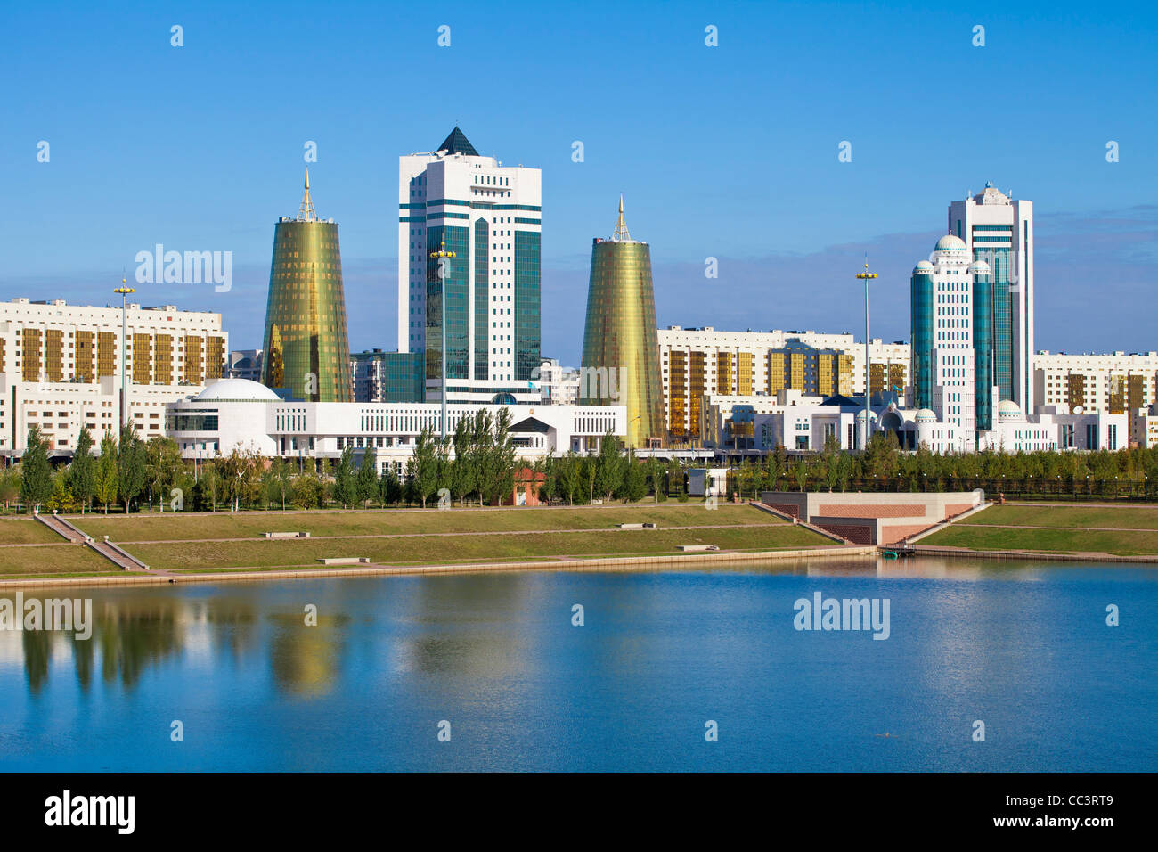 Kazakhstan, Astana, City skyline reflecting in Isahim River - Stock Image