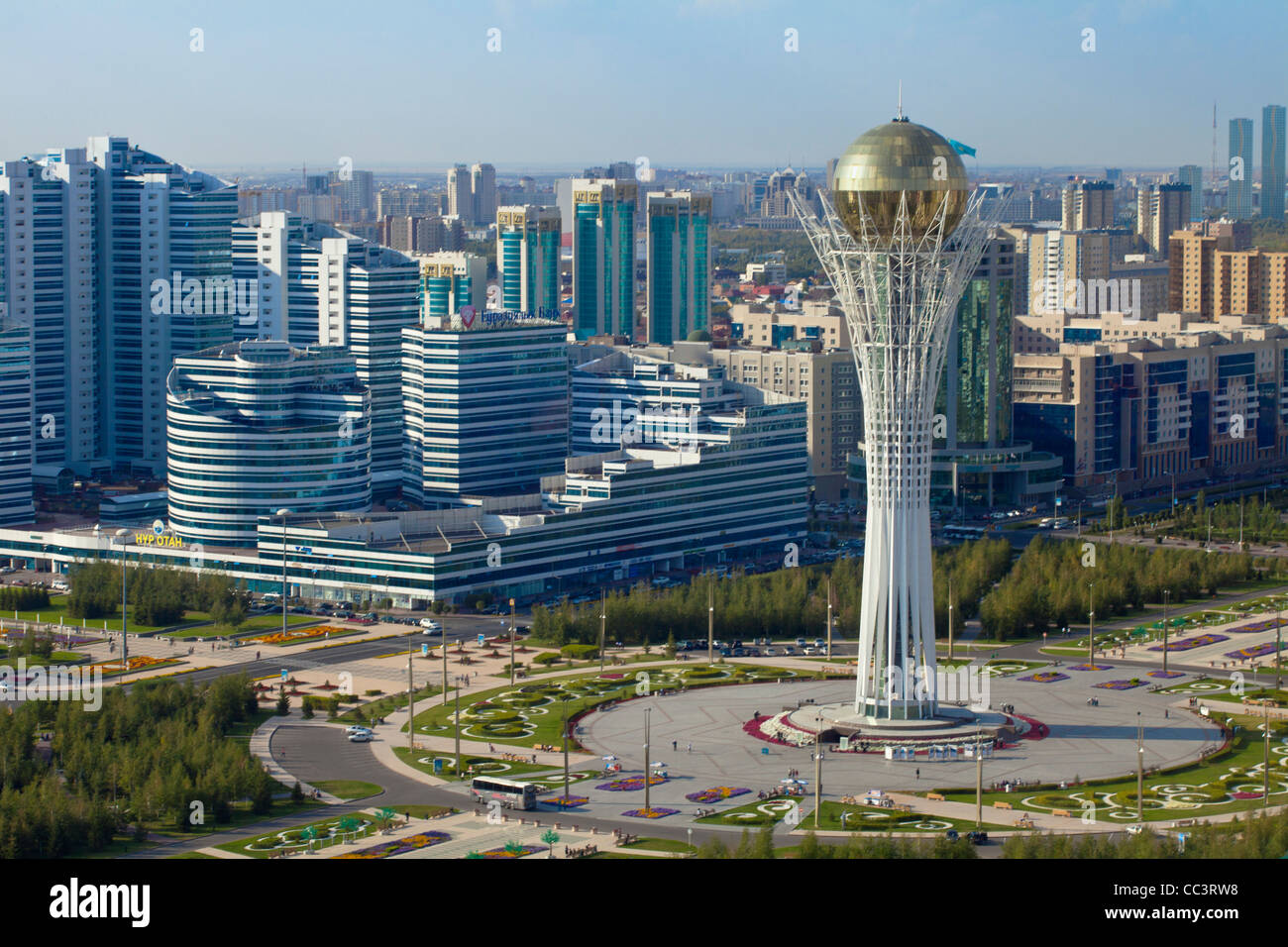 Kazakhstan, Astana, View of City Center looking towards the Bayterek Tower - Stock Image
