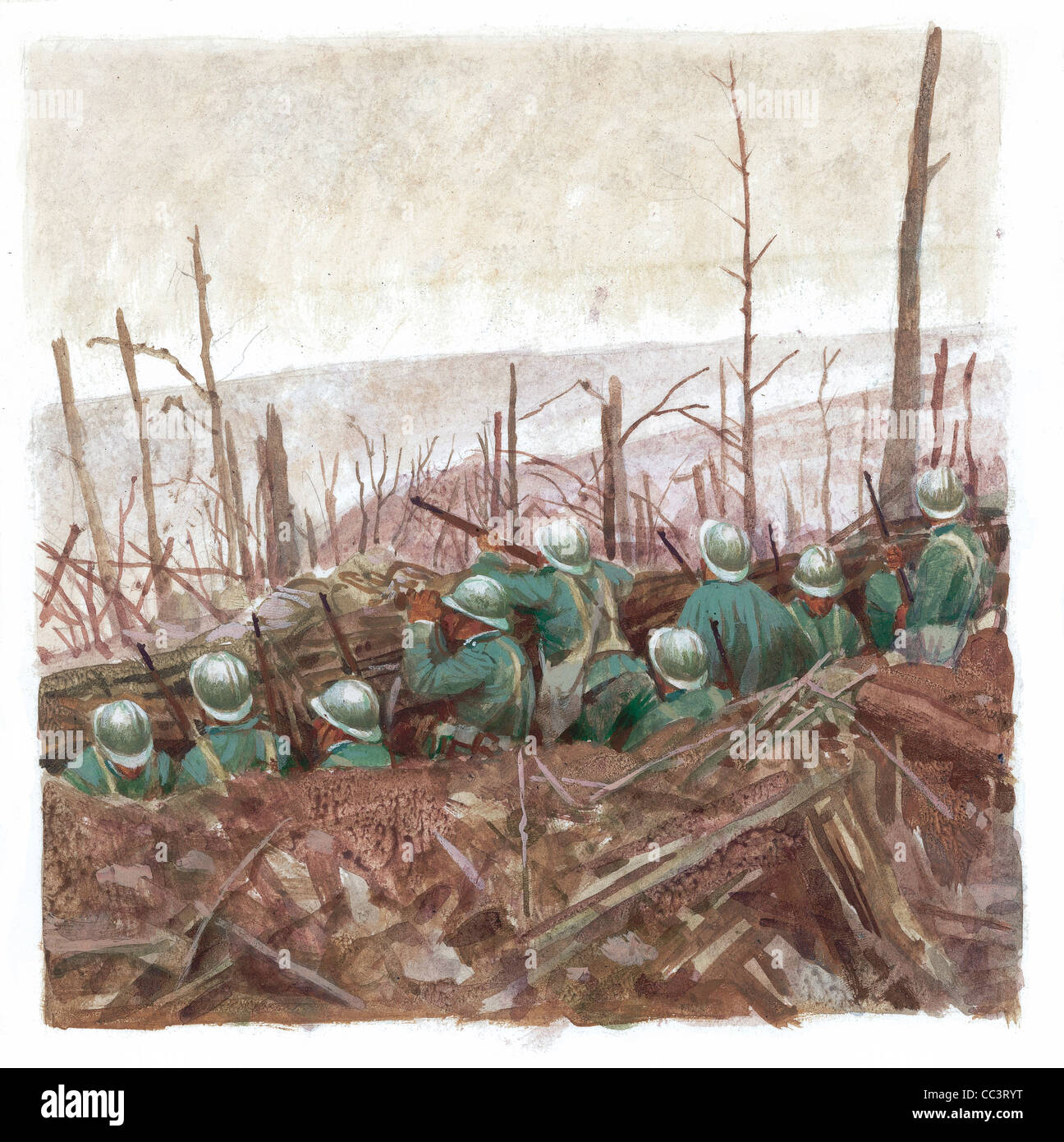 Europe, World War I (1914-1918) Soldiers In The Trenches - Coffee Painting - Stock Image