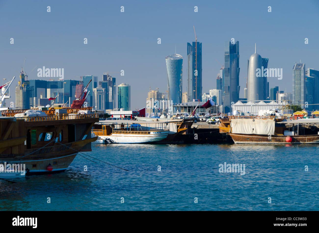 Qatar, Doha, Modern Skyline from Dhow Harbour Stock Photo