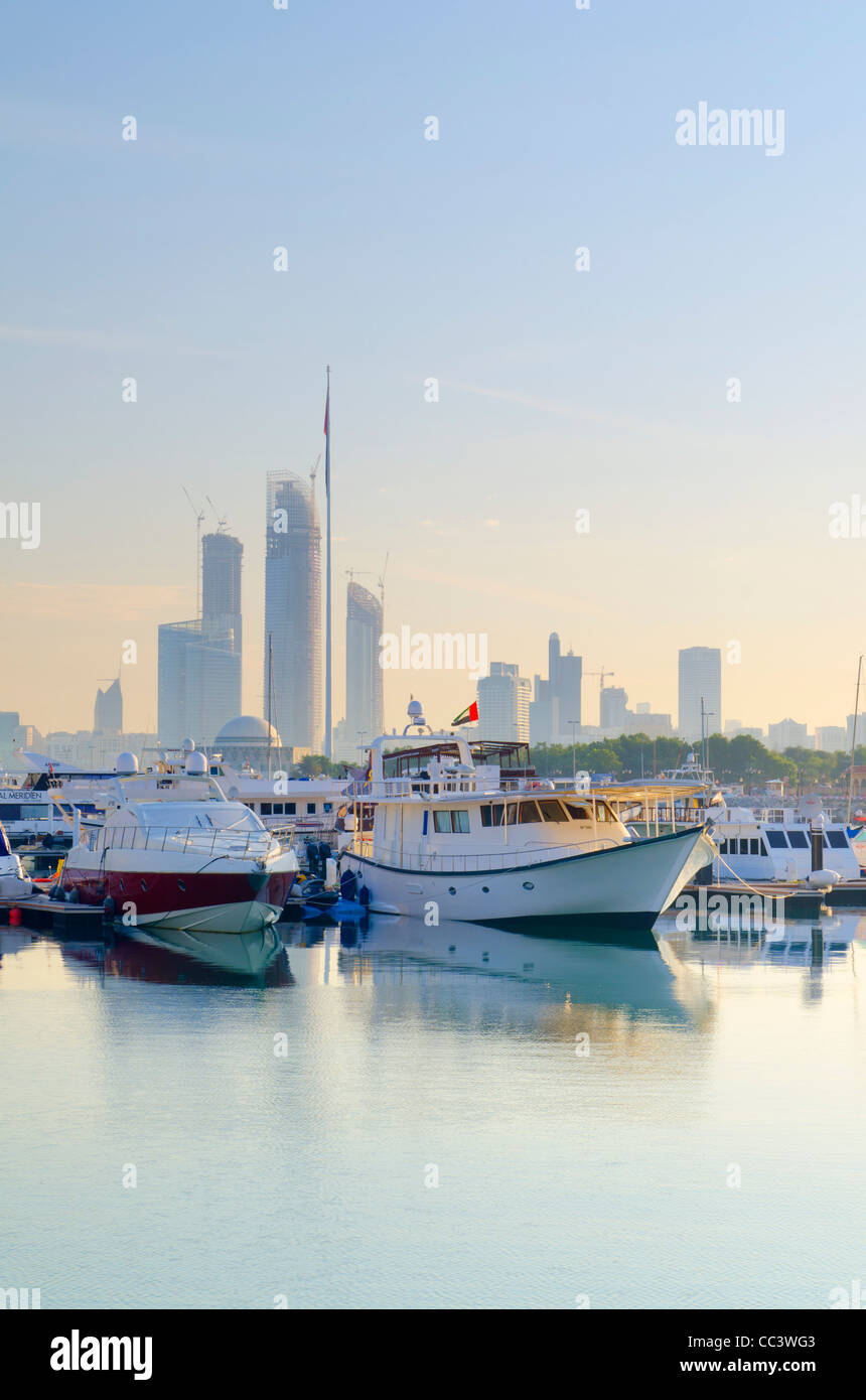 United Arab Emirates, Abu Dhabi, City Skyline from Abu Dhabi International Marine Sports Club - Stock Image
