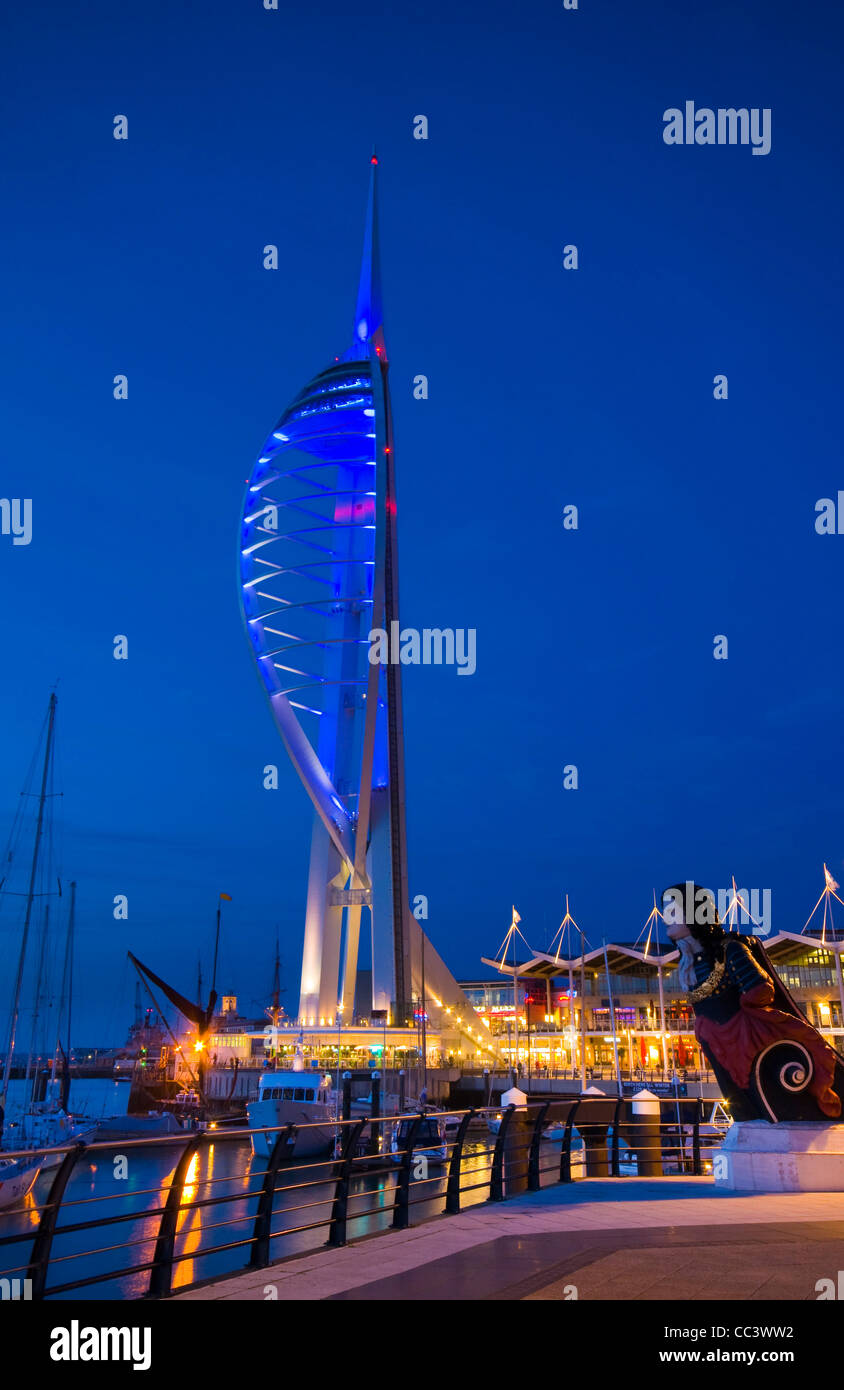 UK, England, Hampshire, Portsmouth, Gunwharf Marina, Spinnaker Tower - Stock Image
