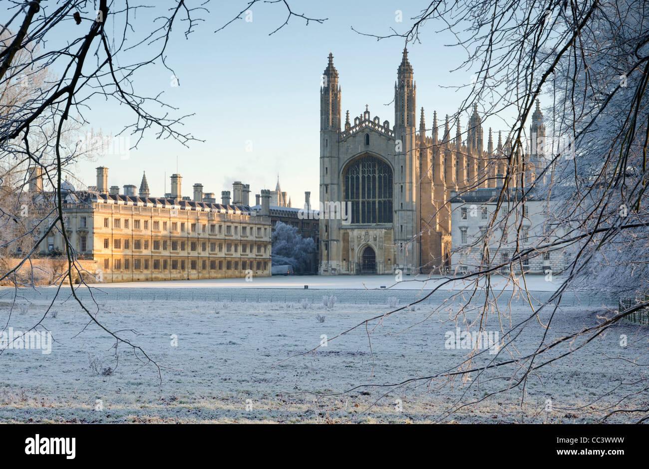 UK, England, Cambridgeshire, Cambridge, The Backs, King's College Chapel in winter Stock Photo
