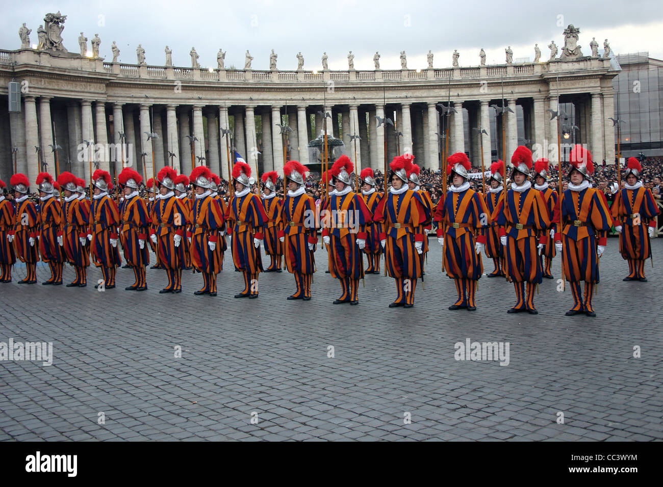 Vatican City 21St Century - April 20, 2005. Proclamation Of Pope Benedict XVI. Swiss Guards Parade - Stock Image