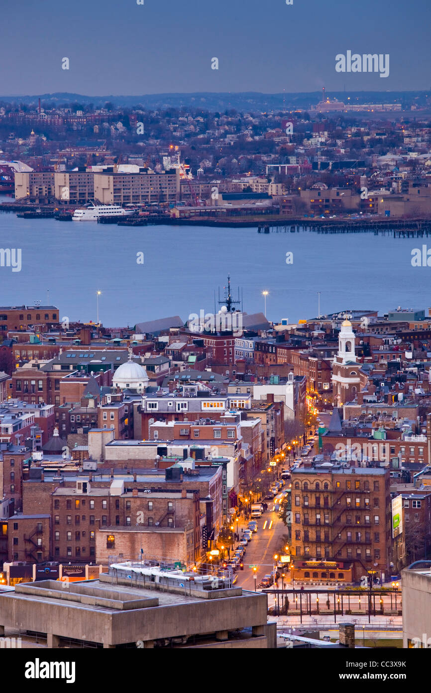 USA, Massachusetts, Boston, high angle view of The North End, LIttle Italy, by Hanover Street, dusk - Stock Image
