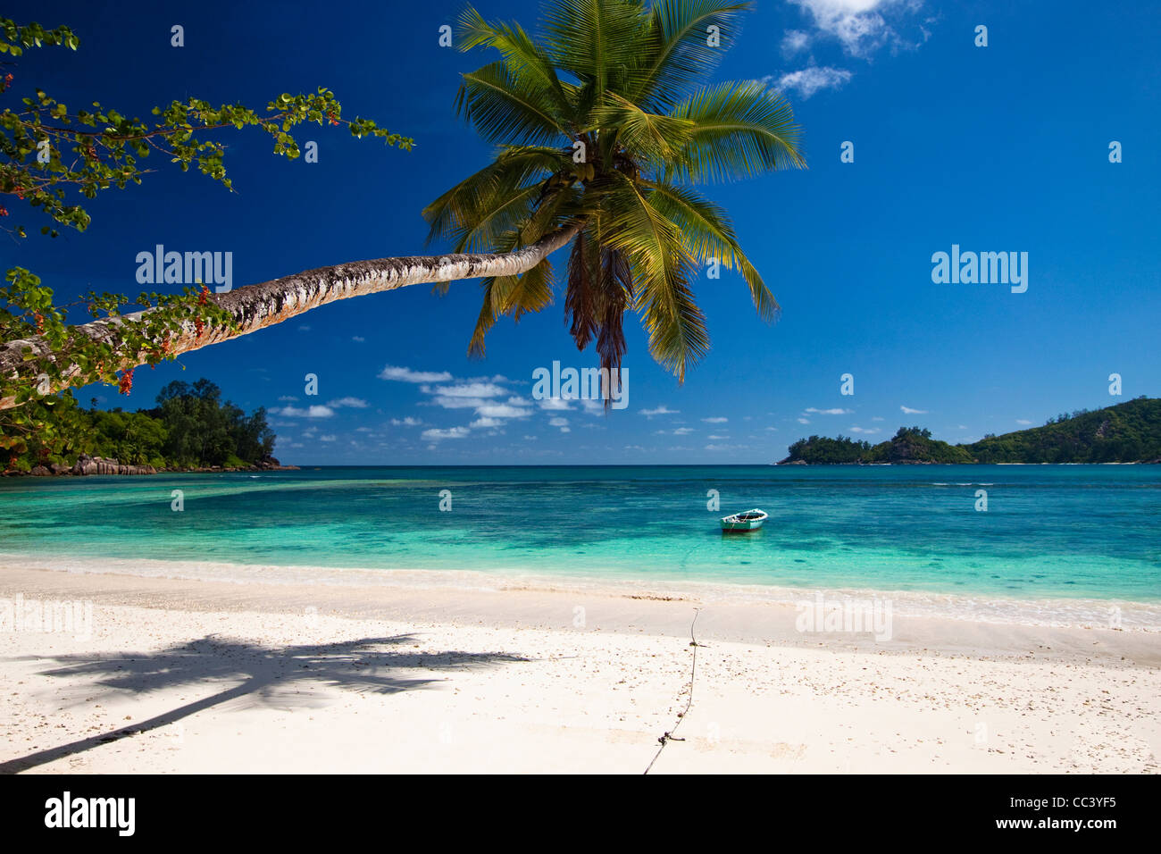 Anse Gaulettes beach, Baie Lazare, Mahe island, Seychelles - Stock Image