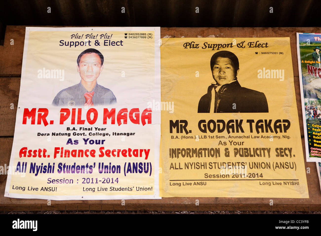 India, Arunachal Pradesh, Yazali, student politics, posters for candidates for election to All Nyishi Student Union - Stock Image