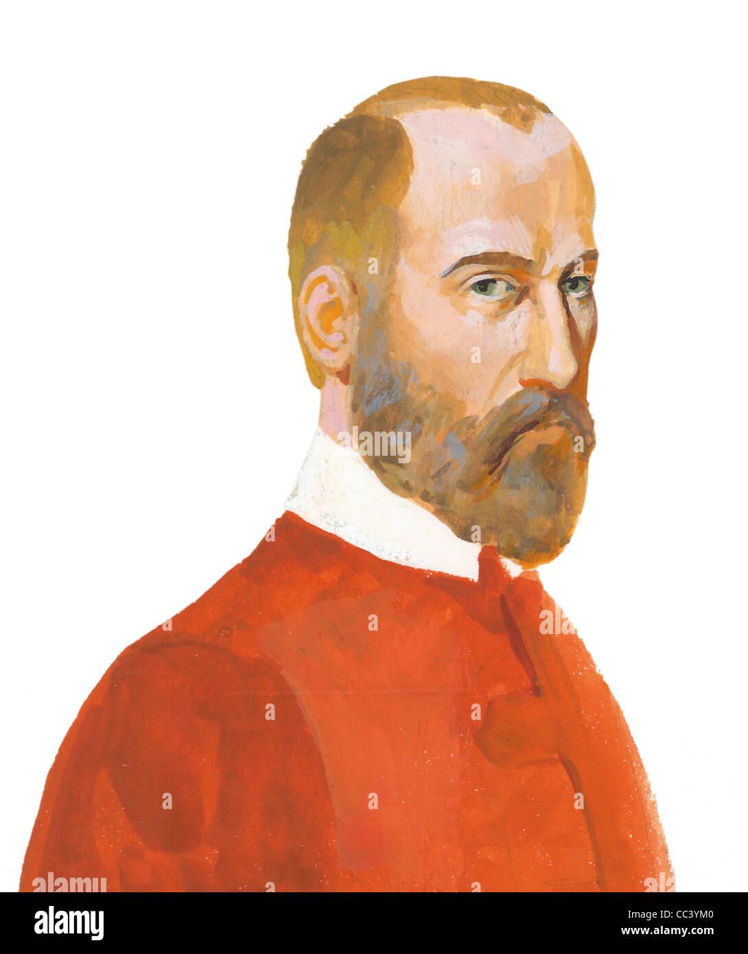Italian 16th Century - Giovanni Pierluigi Da Palestrina (1525-94), Musician. Coffee Painting. - Stock Image