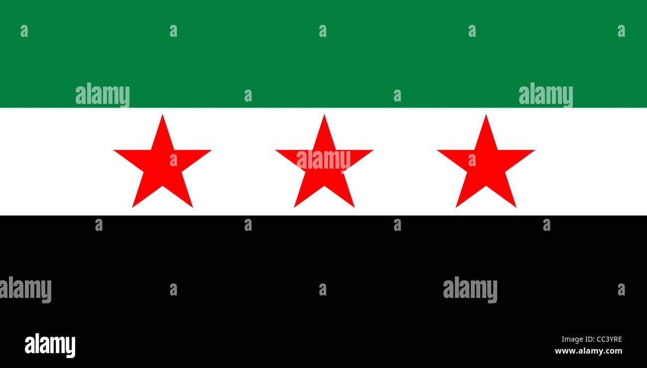 Flag of the opposition Syrian National Council SNC and the Free Syrian Army ASL. - Stock Image