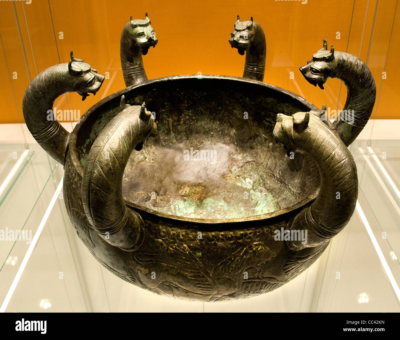Regoline Galassi bronze cauldron lion griffins Phoenician Craftsmen Etruscan Italy Etruria 650 Cerveteri Stock Photo