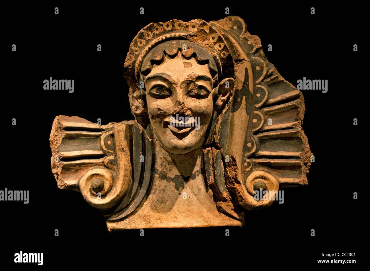 Gods demons Antefix maenads Veii temple Apollo Portonaccio Etruscan Italy Etruria 500 BC - Stock Image