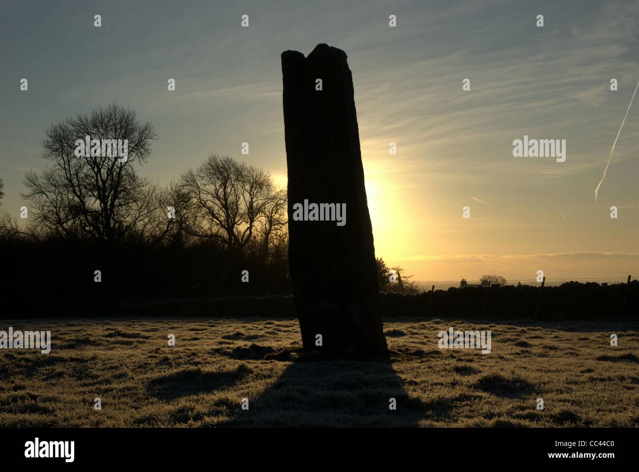 Long meg at sunrise - Stock Image