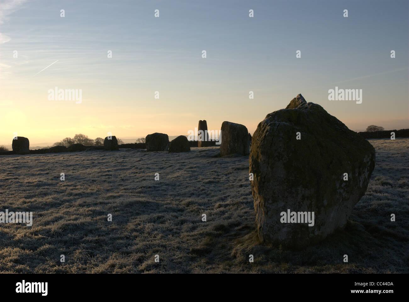 Long meg neolithic stone circle - Stock Image
