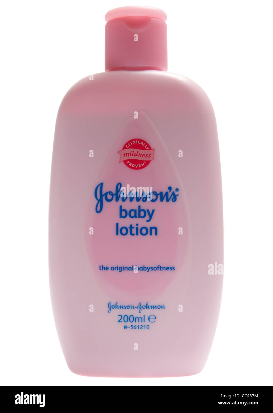 Bottle Of Johnsons Baby Lotion On White Background Stock Photo Alamy