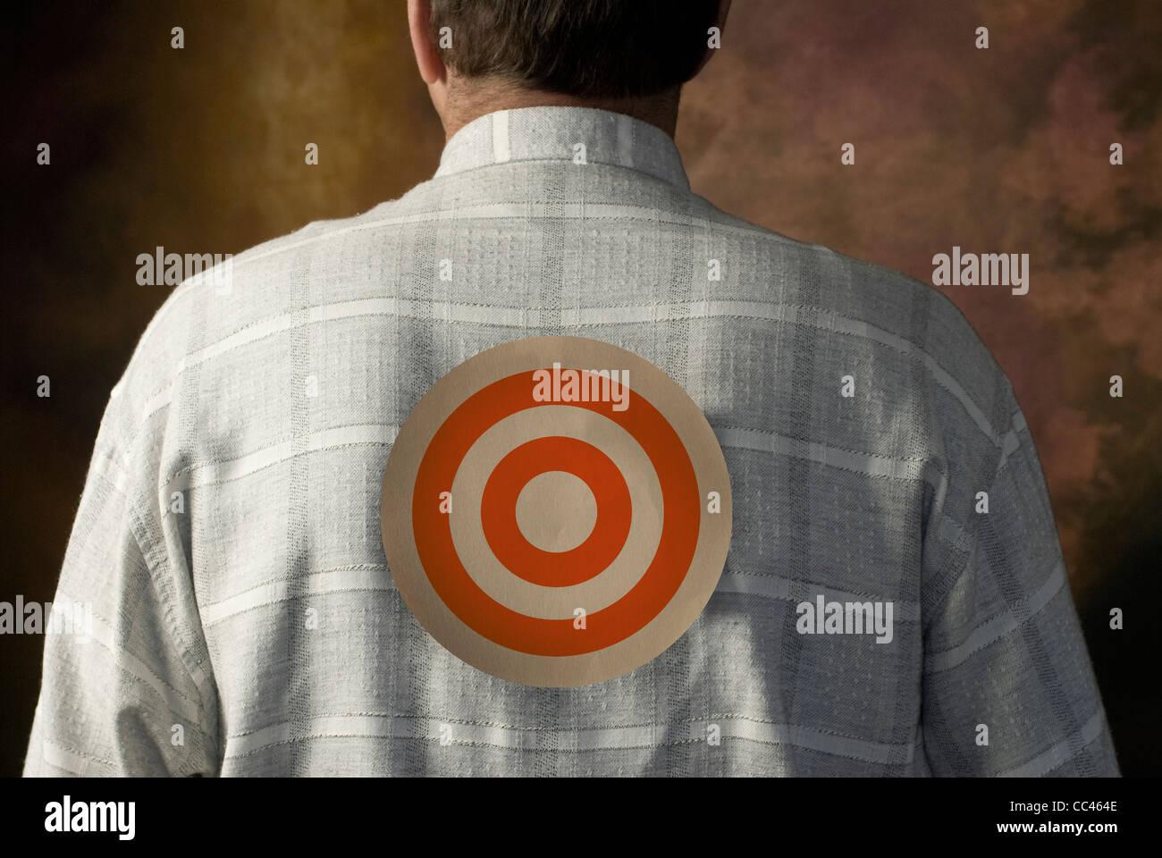 target on man's back - Stock Image