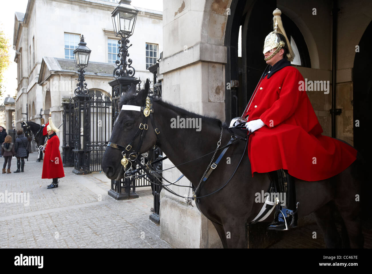 The Household Cavalry Life Guards on guard duty in Whitehall London England UK United kingdom - Stock Image