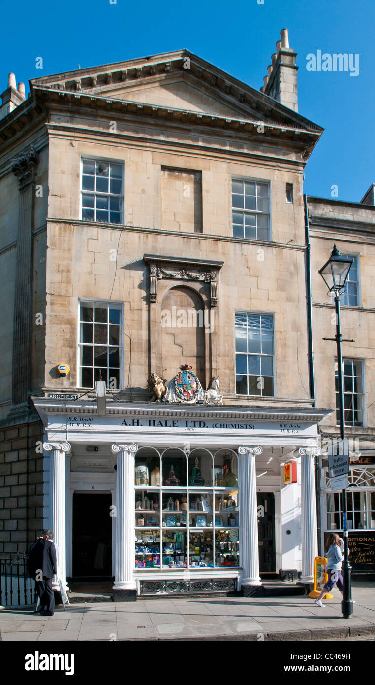 Traditional shop front of A.H. Hale Ltd in Argyle Street, Bath, England, UK - Stock Image