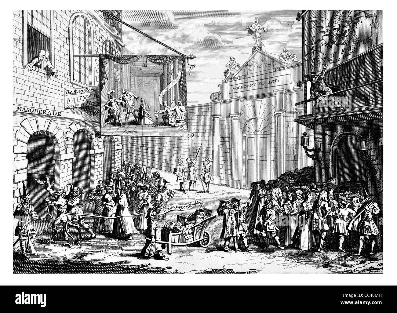 Masquerades and Operas Burlington Gate  engraving from The Works of Hogarth published London 1833 - Stock Image