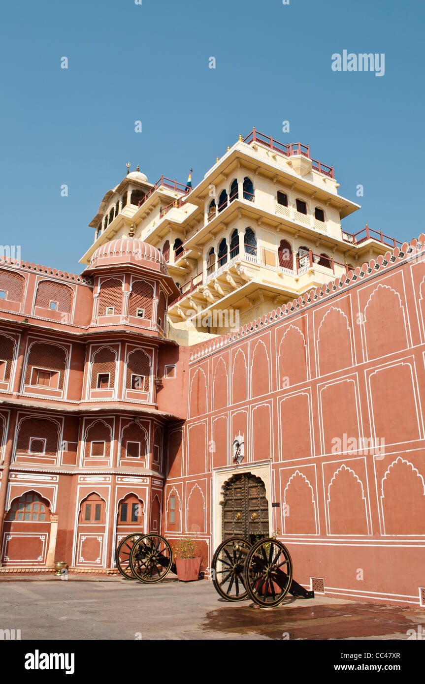 Chandra Mahal, the residence of the royal family view from the courtyard, City Palace, Jaipur, India - Stock Image