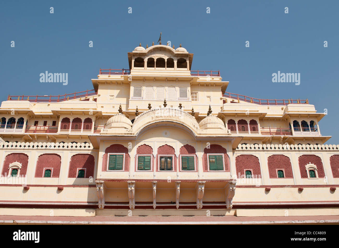 Chandra Mahal, the residence of the royal family, City Palace, Jaipur, India - Stock Image