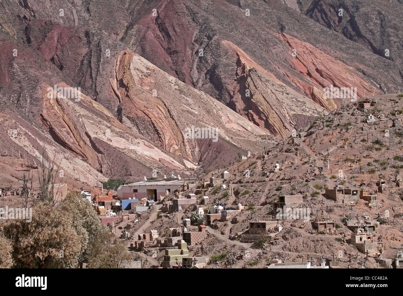 Cemetery in front of the Painter's Palette, Quebrada de Humahuaca, Argentina - Stock Image