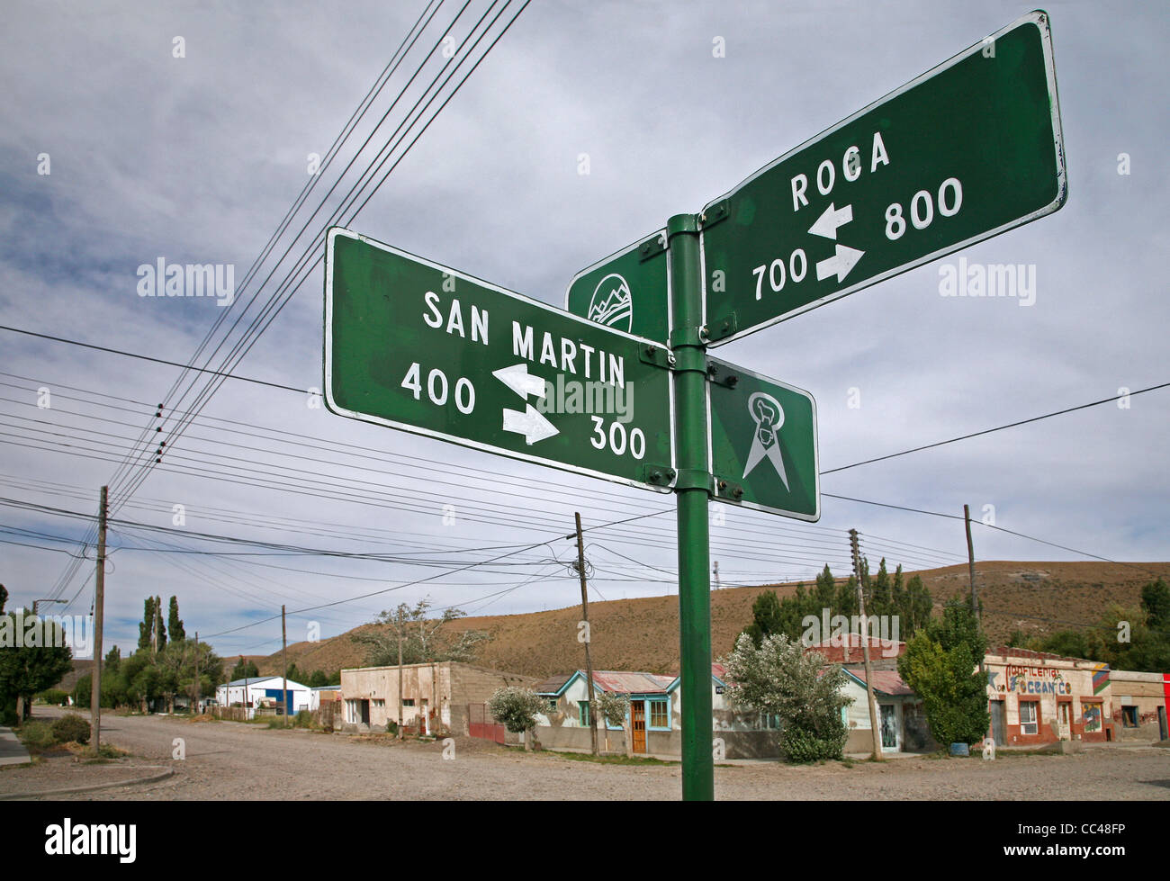 Signpost at Rio Mayo, a small remote village on the route 40 in Patagonia, Argentina - Stock Image
