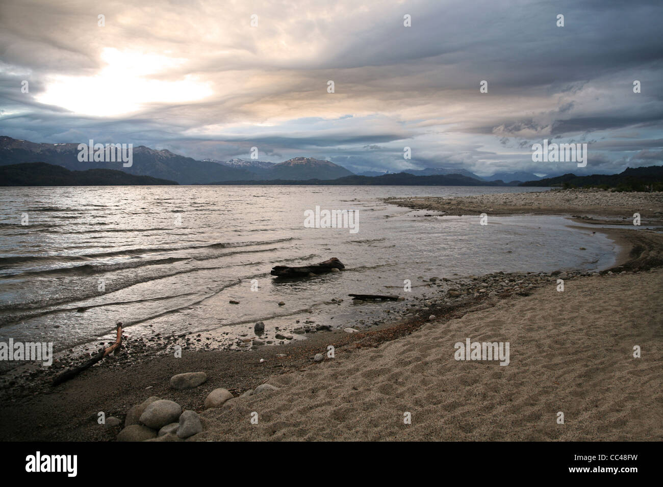 Nahuel Huapi Lake / Lago Nahuel Huapí and the Andes in the background, Patagonia, Argentina - Stock Image