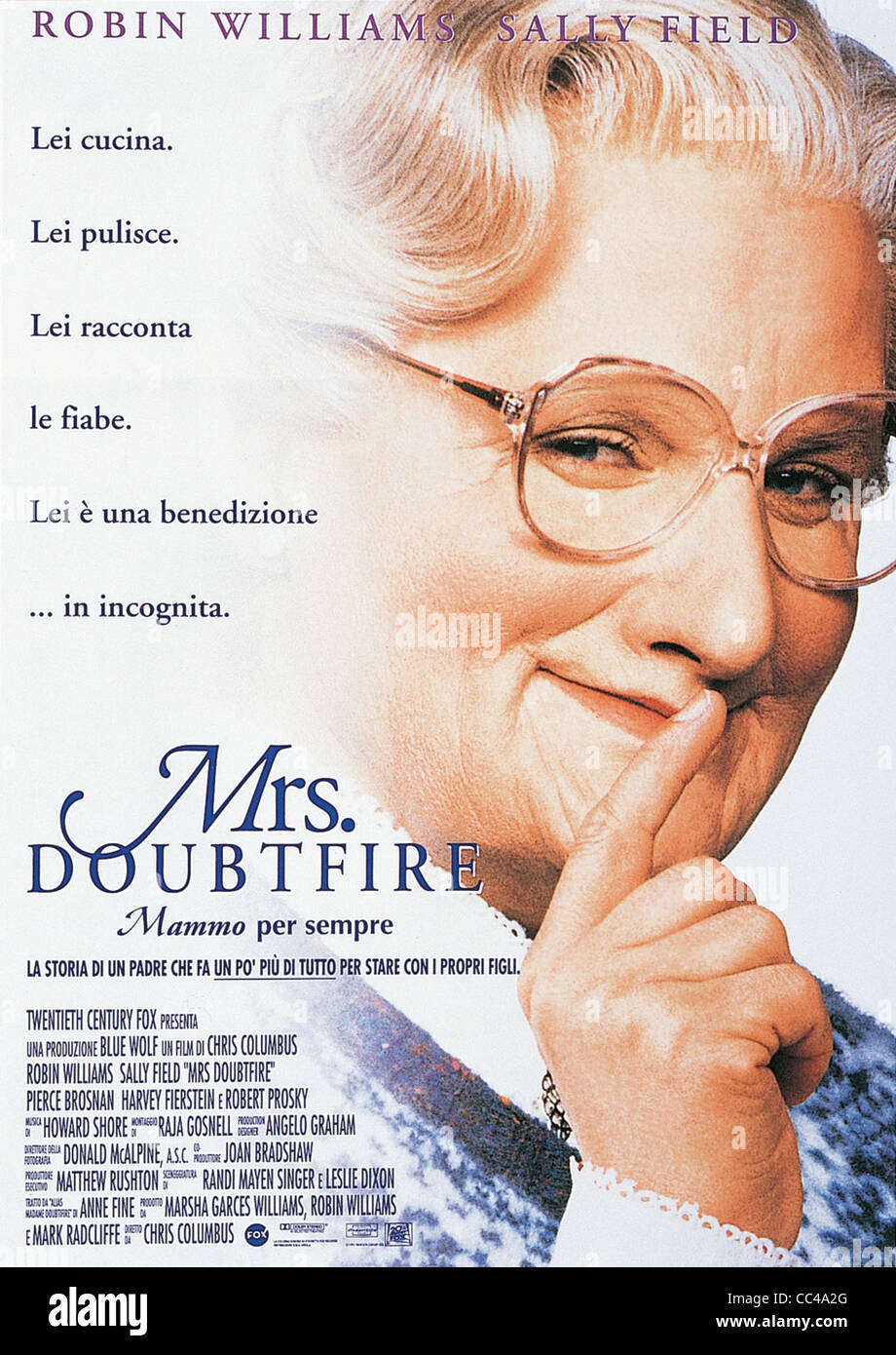 Cinema: Mrs.Doubtfire, 1993 Directed By Chris Columbus Poster - Stock Image