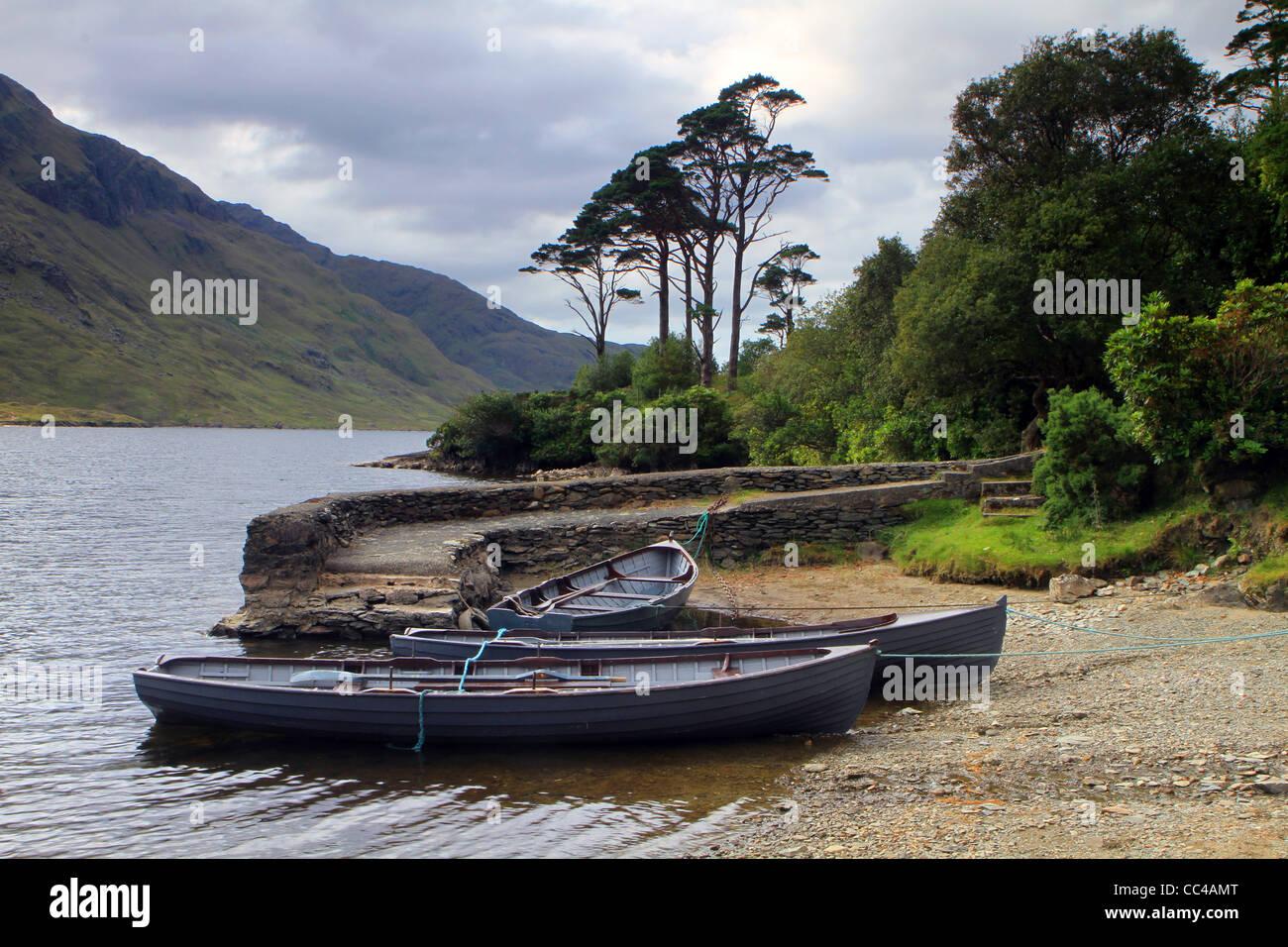 Fishing Boats at Doo Lough Co. Mayo . Ireland - Stock Image