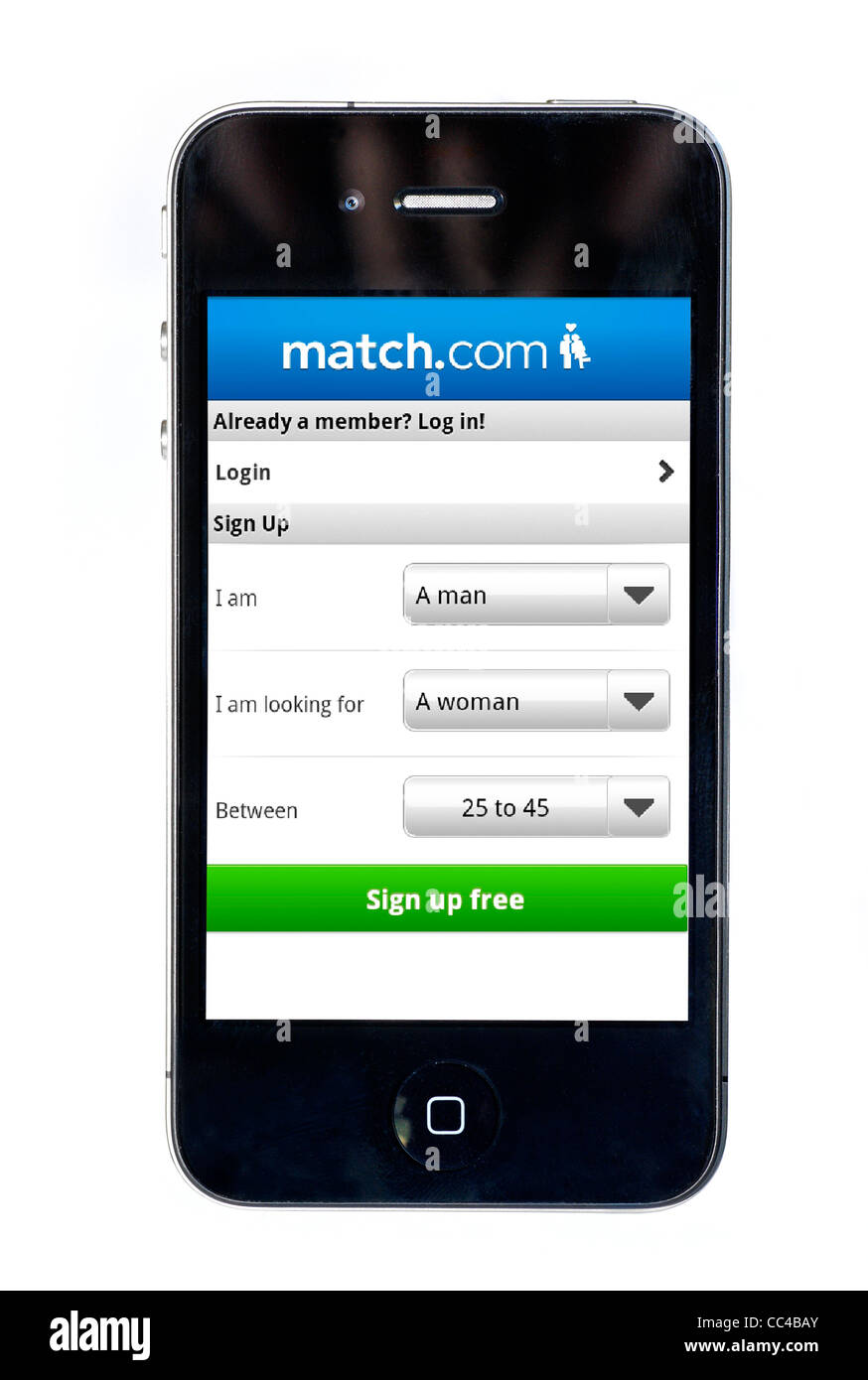 The match.com online dating app on an Apple iPhone 4 smartphone - Stock Image