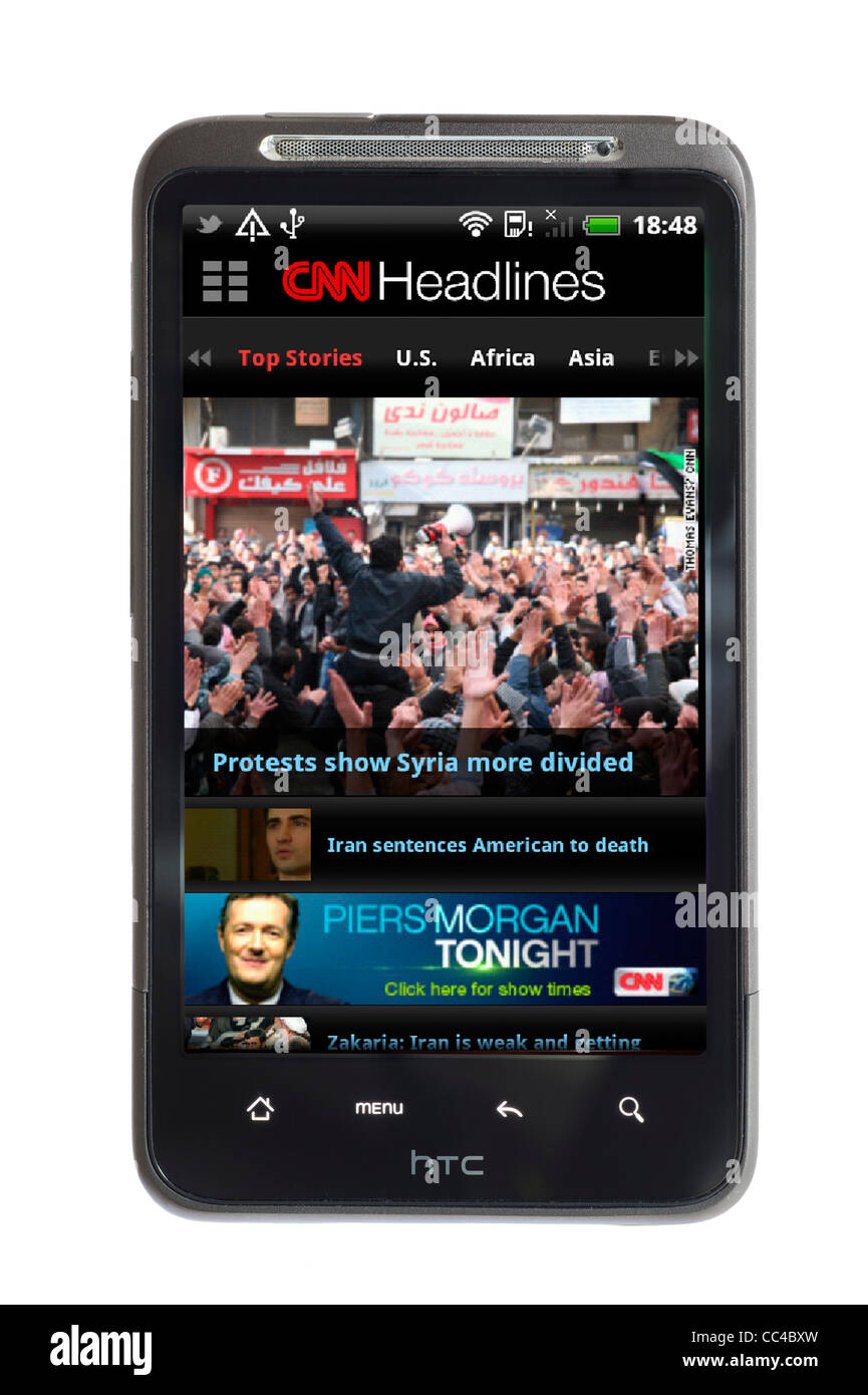CNN News app on an HTC smartphone - Stock Image