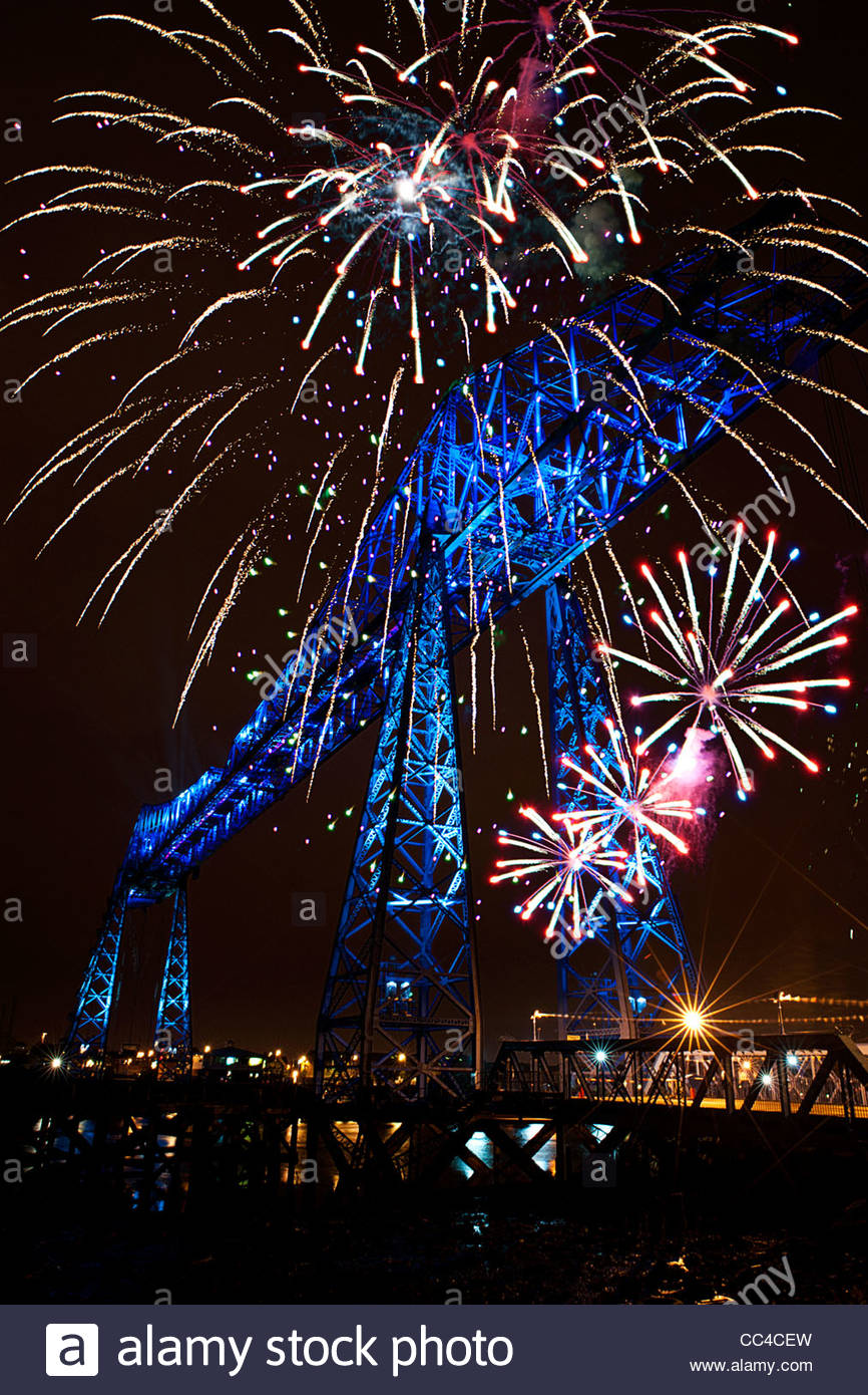 Photograph of the Transporter Bridge, Middlesbrough, England, During the Centenary celebrations. - Stock Image