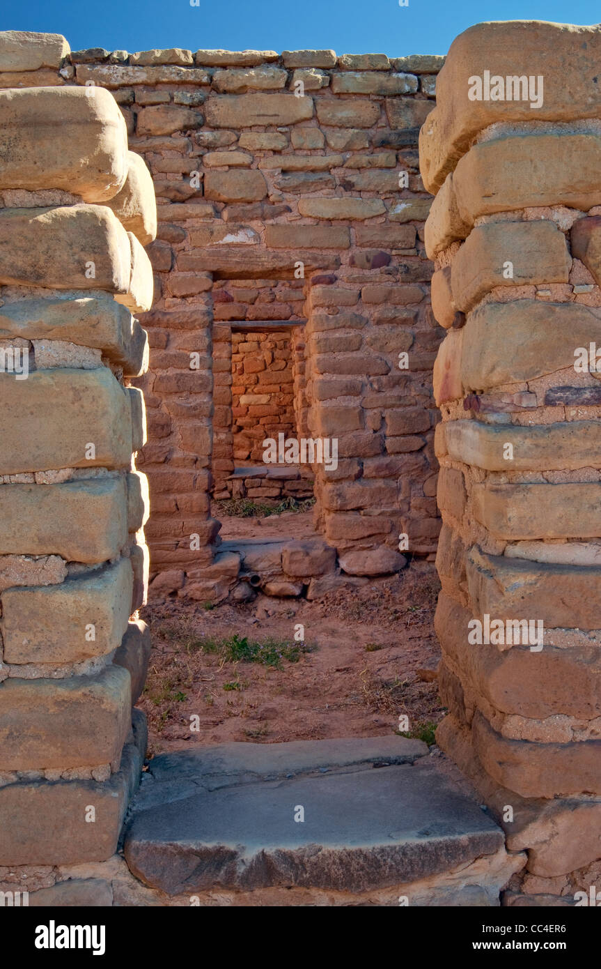 Sequence of doorways at Far View House at Far View Sites Complex, Mesa Verde National Park, Colorado, USA - Stock Image