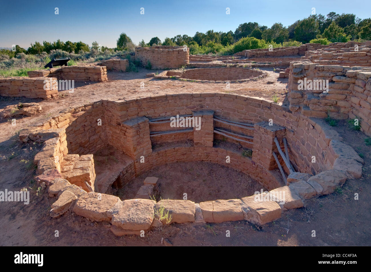 Kiva (ceremonial chamber) at Coyote Village, Far View Sites Complex, Mesa Verde National Park, Colorado, USA - Stock Image