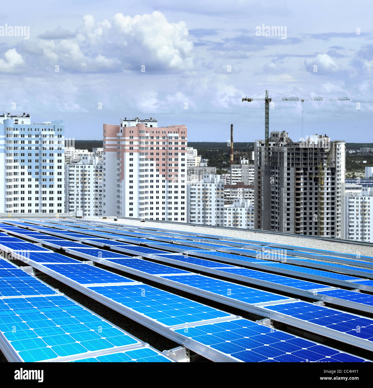 solarpanel on roof of building that is new microdistrict - Stock Image