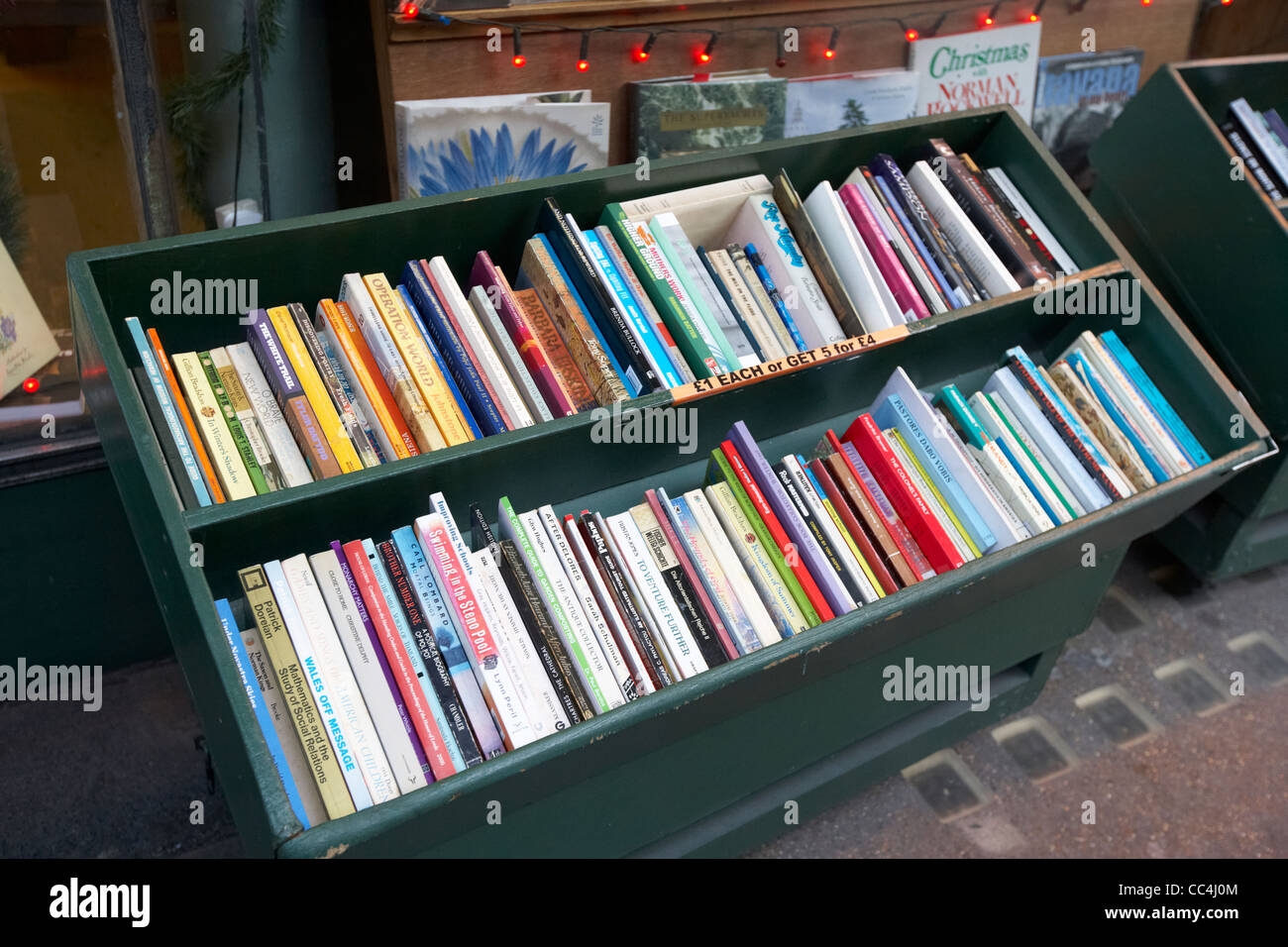 old second hand books for sale outside a shop London England UK United kingdom - Stock Image